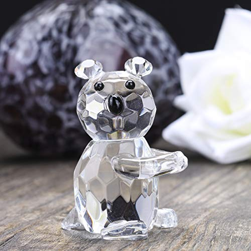 H&D Crystal Glass Clear Bear Figurine Crystal Ornaments Home Decor