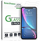 "iPhone XR Screen Protector Glass (3-Pack), amFilm iPhone XR 6.1 Tempered Glass Screen Protector with Easy Installation Tray for Apple iPhone XR (6.1"") (2018)"