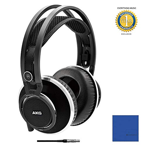 (AKG Pro Audio Superior Reference Headphone with Microfiber and 1 Year Everything Music Extended Warranty)