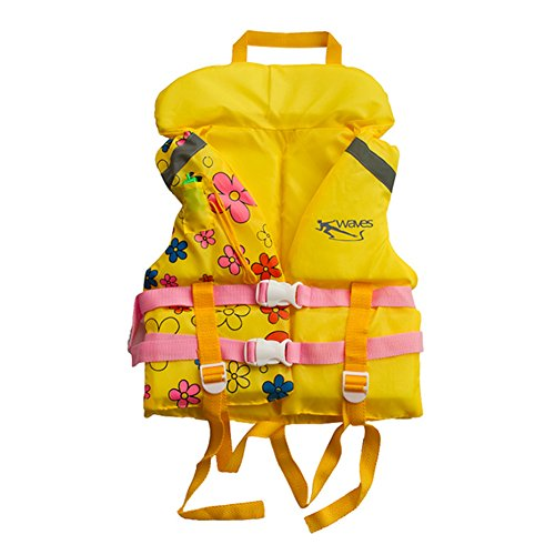 Cute Flowers Vest Learn-to-Swim Floatation Jackets,2-6 Years Old,10-25KG,Yellow