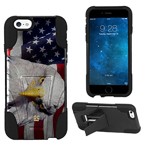 Spots8® Image Design Cases for iPhone 6, Glossy Image Design Series Dual Layer Silcone Bumper+ Hard Shell Case with built-in Kickstand [American Eagle on USA Flag]