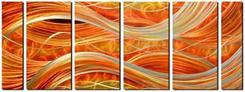 Handcrafted Abstract Metal Wall Art with Soft Color, Large Scale Decor in Caramel Line Design, 3D Artwork for Indoor Outdoor Wall Decorations, 6-Panels Metal Art Measure 24