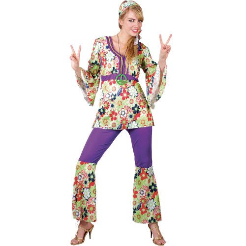 70s Outfits Women (Hippy Adult Ladies Costume Outfit 60S + 70S Hippie Honey (Women: 22-24))