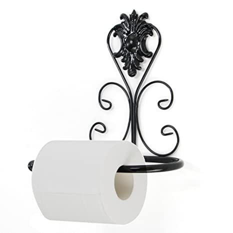 Vintage Iron Toilet Paper Towel Roll Holder Bathroom Wall Mount Rack Black