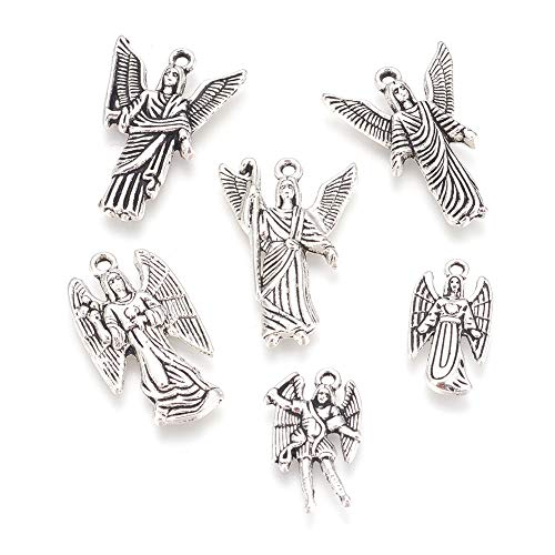 - Craftdady 30pcs Mixed Set of Antique Silver Angel Lady Pendants Tibetan Alloy Fairy Goddess Charms for DIY Jewelry Making Crafting