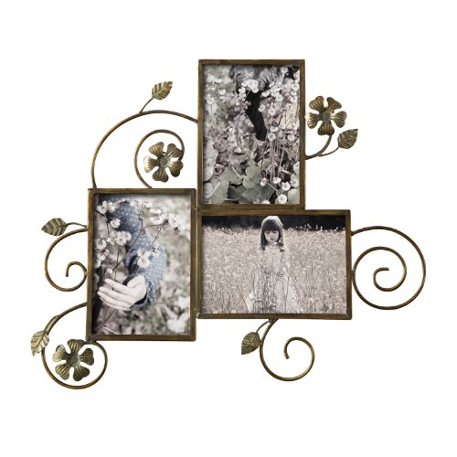 Asense College Picture Photo Frame 5 by 7-inch Bronze-Color Iron Metal Flower Frame