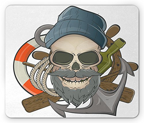 [Skull Mouse Pad by Ambesonne, Illustration of Sailor Old Skull with Beard Mascot Nautical Theme Skeleton Lifebuoy, Standard Size Rectangle Non-Slip Rubber Mousepad, Multicolor] (Nautical Beard)