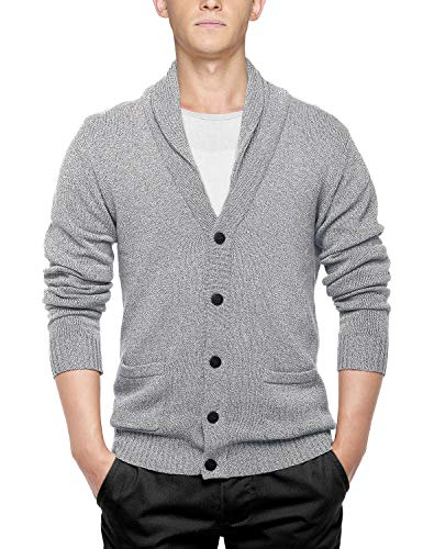 - Match Men's Sweater Series Buttoned Cardigan #12088(US M (Tag Size XL),Light Heather Gray)