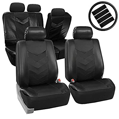 FH GROUP FH-PU021115 Synthetic Leather Full Set Auto Seat Covers w. Steering Wheel Cover & Seat Belt Pads - Fit Most Car, Truck, Suv, or Van