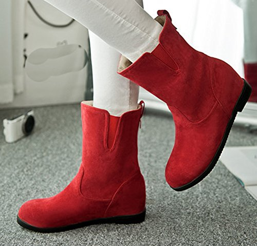 Aisun Womens Simple Round Toe Dress Elevator Low Heels Slip On Booties Shoes Red JWMujjhqT