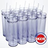 Top House Clear Acrylic Tumblers with Lids and Reusable Straws, 16oz Skinny Travel Cups, Insulated Double Wall, Adhesive Vinyl Sticker Crafting, Bridesmaid Gifts, Bulk Pack of 12
