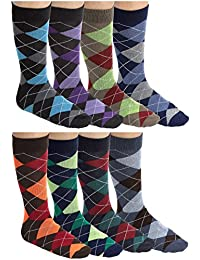 Mens Colorful Argyle Dress Socks - Cotton - Crew Length - 6 Pairs