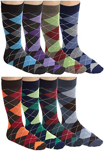 Men Dress Socks With Colorful Argyle Patterns By Debra Weitzner - Durable, Soft, Breathable Cotton - 8 Assorted Colors - Multi-Color Design - Mid Calf Length - Pack of 12 Pairs Mens Argyle Pattern Socks