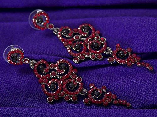 Vijiv Gatsby Boucles D'oreilles Art Déco Des Années 1920 Vintage Accessoires Bijoux Garçonne Rouge Partie