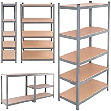 TANGKULA 5-Tire Storage Shelves Space-Saving Storage Rack Heavy Duty Steel Frame Organizer High Weight Capacity Multi-Use Shelving Unit for Home Office Dormitory Garage with Adjustable Shelves
