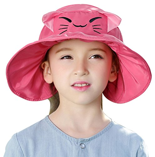 Happy Cap Face (Bienvenu Kids Girls Wide Brim Visor Sun Hat - UV Protection Foldable Beach Cap,Fuchsia)