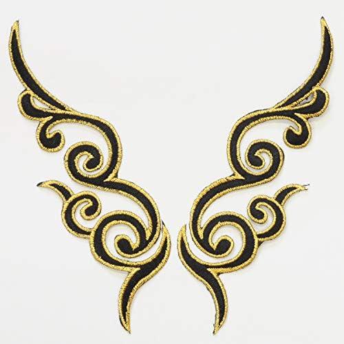 刺繍 ワッペン 約17.5cm 左右 2枚組 アイロン接着可 衣装 ダンス (ゴールド)