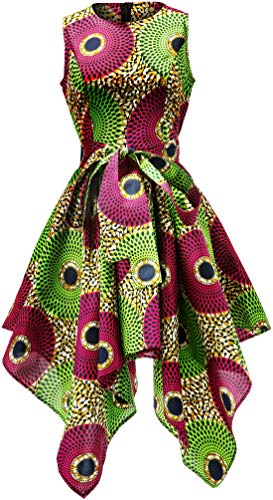 Shenbolen Women African Print Dresses Traditional Clothing Casual Party Dress(Small,C