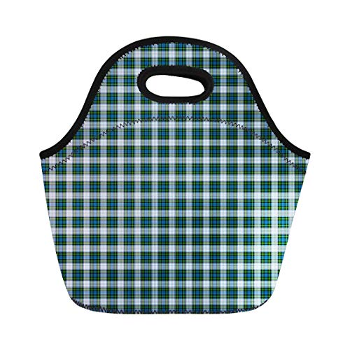 - Semtomn Lunch Tote Bag Blue Patterned of the Clan Campbell Dress Tartan Green Reusable Neoprene Insulated Thermal Outdoor Picnic Lunchbox for Men Women
