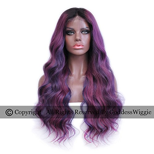 Neon Hair Styles Highlights Wigs Hair Color Ombre Purple Violet Wig Body Wavy Glueless Human Hair Lace Front Wigs For Women (20inch 180%) by Goddess