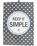 Krasilnikoff Geschirrtuch Teatowel Keep it simple grau mit weißen Punkten