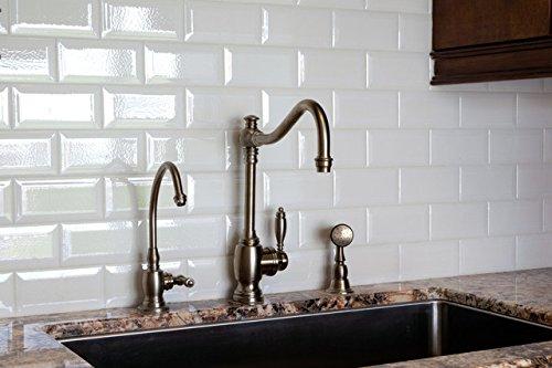 White Crackled Bevelled 3x6 Subway Tile Backsplash, Kitchen, Walls, Countertop, Bathroom, Herringbone, Ceramic Tile (Lot of 10sq ft)