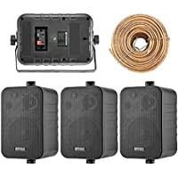 4x Speakers Bundle Package: 2 Pairs of Enrock Audio EKMR408B 4-Inch 200 Watts Black 3-Way Indoor / Outdoor Marine Boat Box-Speaker Combo With 50 Foot 18 Guage Speaker Wire