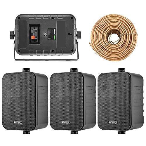 - 4x Speakers Bundle Package: 2 Pairs of Enrock Audio EKMR408B 4-Inch 200 Watts Black 3-Way Indoor / Outdoor Marine Boat Box-Speaker Combo With 50 Foot 18 Guage Speaker Wire