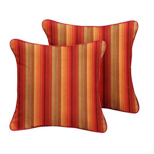 ella Indoor/ Outdoor Corded Pillows, Astoria Sunset Stripe and Dupione Crimson, Set of 2 ()