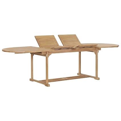 vidaXL Teck Massif Table Extensible de Jardin Ovale Table de ...