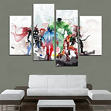 H.COZY 4 Piece The Avengers Modern Art Canvas Wall Paintings Cuadros Decorativos Canvas Prints Paintings Art For Living Room Wall (No Frame) Unframed FCR20 48 inch x28 inch