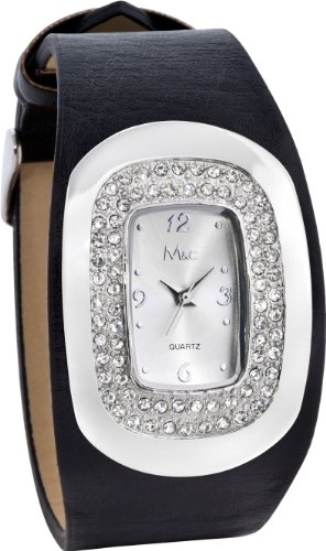 (M&c Women's | Fashion Black Band Watch with Rhinestone Accent Bezel | FC0234)