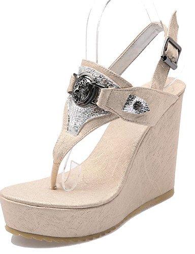 LFNLYX Chaussures Femme-Décontracté / Soirée & Evénement / Habillé-Bleu / Blanc / Or-Talon Compensé-Compensées-Sandales-Matières Personnalisées , blue , us6 / eu36 / uk4 / cn36
