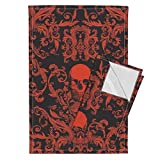 Rockabilly Steampunk Steam Punk Damask Halloween Skulls Spooky Tea Towels Dread Damask/Lava by Willowlanetextiles Set of 2 Linen Cotton Tea Towels