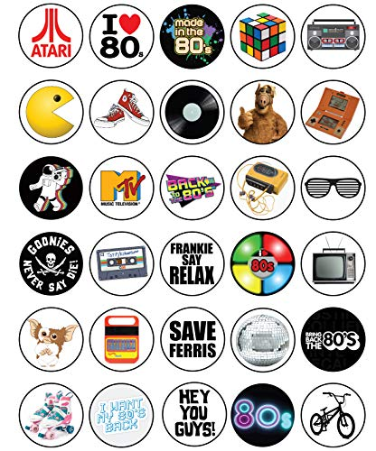 30 x Edible Cupcake Toppers - 80's Retro Party Themed Collection of Edible Cake Decorations | Uncut Edible Prints on Wafer Sheet -
