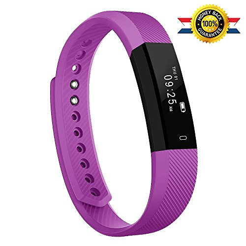 Fitness Tracker,Luluking Activity Tracker Water Resistant with Sleep Monitor, Bluetooth Smart Wristband Bracelet Sport Pedometer fitness Watch Step Tracker/Calorie Counter for Android and ios (Purple)