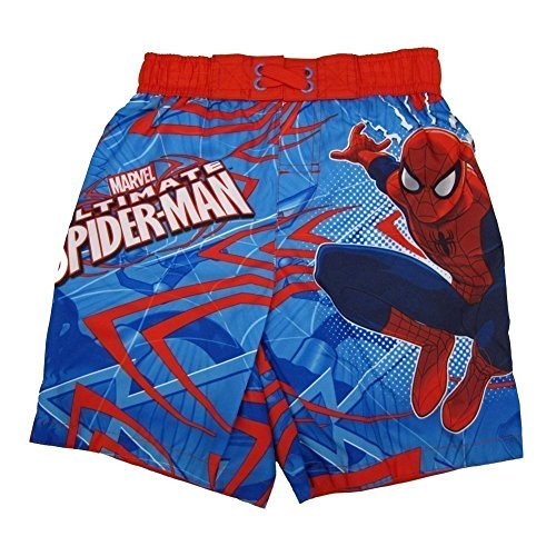 Marvels Little Boys Red Blue Ultimate Spiderman Adjustable Swim Shorts (Spider Man Spring)