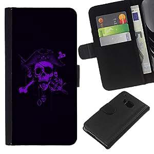 KLONGSHOP // Tirón de la caja Cartera de cuero con ranuras para tarjetas - Pirata Púrpura Negro Capitán Scary - HTC One M7 //