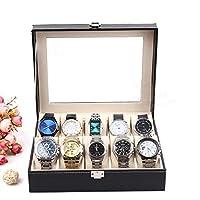 Eachbid Applied Piel Smart 10 ranuras muñeca reloj visualización caja almacenamiento titular organizador Windowed Caso