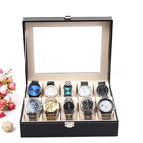 Eachbid Applied Piel Smart 10 ranuras muñeca reloj visualización caja almacenamiento titular organizador Windowed Caso(10...