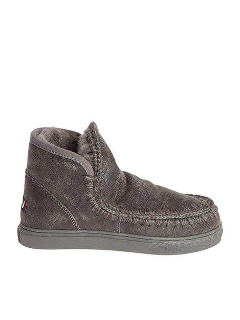 Mou Hombre Minieskimosneakermencvcha Marrón Cuero Botines: Amazon.es: Zapatos y complementos