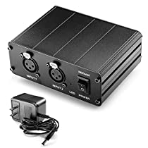Neewer® 2-Channel 48V Phantom Power Supply withPower Adapter for Condenser Microphones, Transfer Sound Signal to External Sound Card