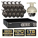 Q-See 16 Channel 960H Security System with 15 High-Resolution 700TVL Cameras, 1 Pan-tilt Camera and 1TB Hard Drive, Best Gadgets