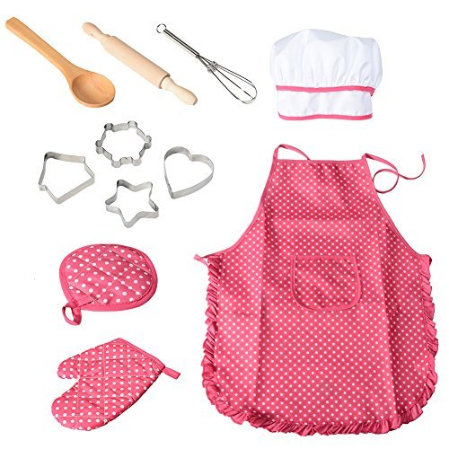 Funslane Chef Set for Kids Cooking Play Set with Apron for Girls, Chef Hat, and Other Accessories for Toddler Career Role Play Children Pretend Play 11 Pcs Great Gift Girl Costume Dress Hat Apron