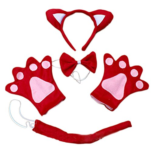 Mwfus Kids Baby Girls Cat Ears Cosplay Fancy Dress Headband Bowtie Paw Gloves Tail Set -