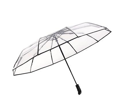 TLMY Paraguas Plegable automático Transparente de 10 Huesos Paraguas Transparente Desde la Apertura del Paraguas