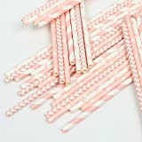 ZOOYOO Paper Straw 100pc For Parties,Birthdays,Weddings,Baby Showers And Celebrations (Pink)