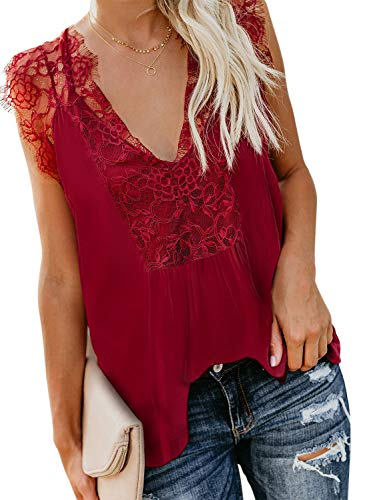 (Sidefeel Women Crochet Lace Tank Top Sleeveless Loose Fitting Tunic Medium)