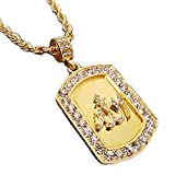 BLINGFACTORY Hip HOP Gold ICED Out Allah Muslim CZ Dog TAG Pendant & 24' Rope Chain Necklace