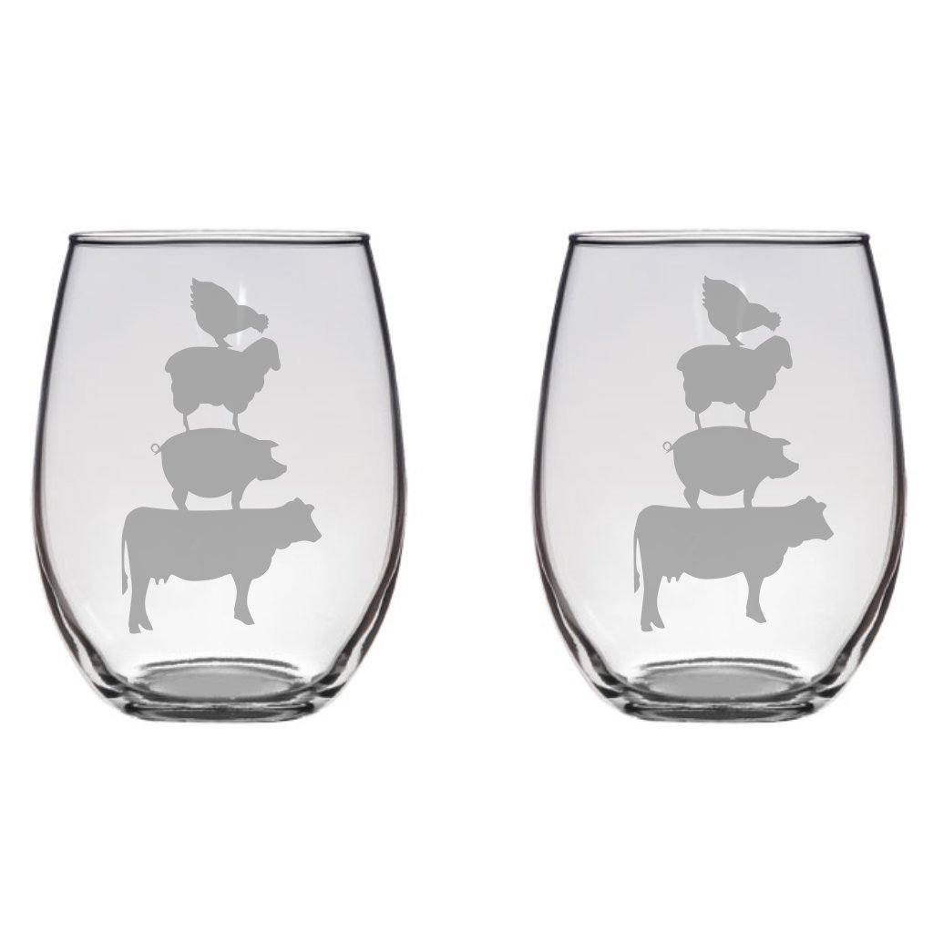 Stacked Farm Animals Engraved Wine Glass Pint Glass, Mason Jar, Champagne Flute, Gift Cow Pig Sheep Chicken